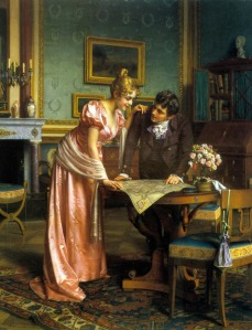 Planning the Grand Tour, by Emil Brack (painting date unknown, artist lived 1860--1905)
