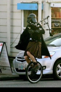 Vader bagpipe kilt unicycle