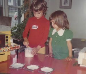 Michelle and Kat and the Easy Bake Oven, circa 1974