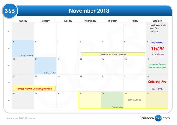 November is always a busy month!
