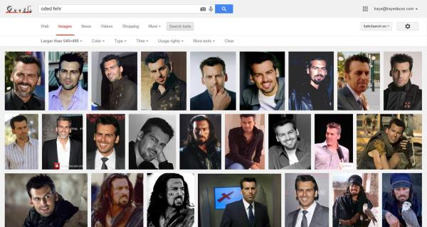 Google Image Search for Oded Fehr, using the search tools to make sure I'm getting larger/higher quality images (click for full-size image)