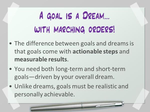 Dreams vs. Goals: Give Your Writing Dreams Marching Orders | KayeDacus.com