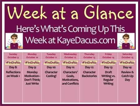 #FirstDraft60 Week 2 Schedule | KayeDacus.com