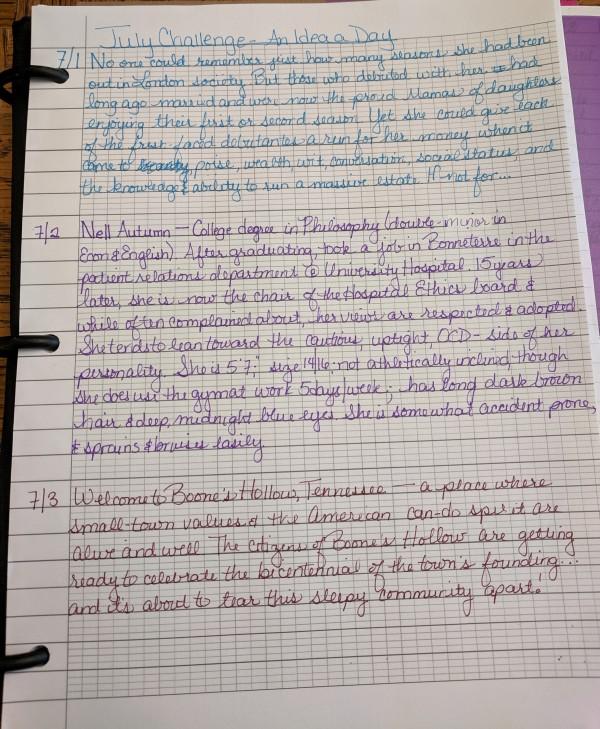 Handwritten Story Ideas   July Challenge   KayeDacus.com