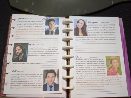 Character-development notes with photos of actor templates